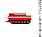 Red fire caterpillar vehicle, emergency vehicle, side view vector Illustration on a white background 44021468