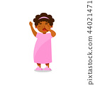 Cute little girl in pink pajamas yawning vector Illustration on a white background 44021471