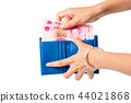 Female taking out Chinese yuan out of wallet 44021868