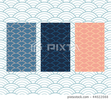 Japanese wave pattern vector. Ocean background.  44022088