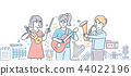 Music school - colorful line design style illustration 44022196