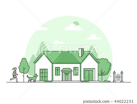 Suburban house - modern thin line design style vector illustration 44022231