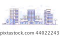 Cityscape with hospital - modern thin line design style vector illustration 44022243