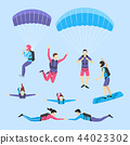Cartoon Characters Skydiving and Parachuting People Set. Vector 44023302
