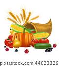 Realistic Detailed 3d Cornucopia or Horn of Plenty. Vector 44023329
