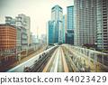 Monorail in Tokyo city, Japan 44023429
