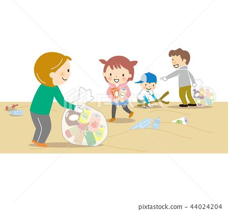 垃圾捡起岸边 44024204