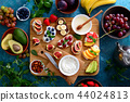 Healthy vegetarian breakfast with canapes 44024813