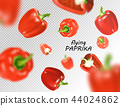 Isolated flying vegetables. Falling sweet red paprika isolated on white background. Realistic vector 44024862