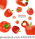 Isolated flying vegetables. Falling sweet red paprika isolated on white background. Realistic vector 44024870