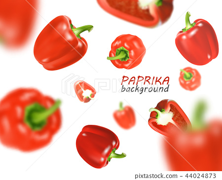 Isolated flying vegetables. Falling sweet red paprika isolated on white background. Realistic vector 44024873