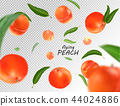 Flying peach. Realistic 3D illustration. Vector peaches on transparent background. 44024886