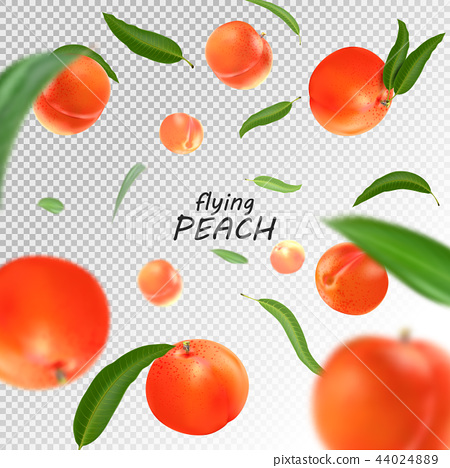Flying peach. Realistic 3D illustration. Vector peaches on transparent background. 44024889