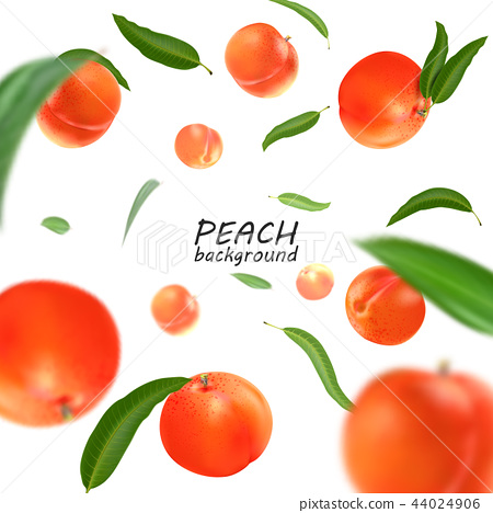 Flying peach. Realistic 3D Vector peaches background. 44024906
