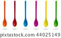 Set of multicolour plastic spoons. 44025149