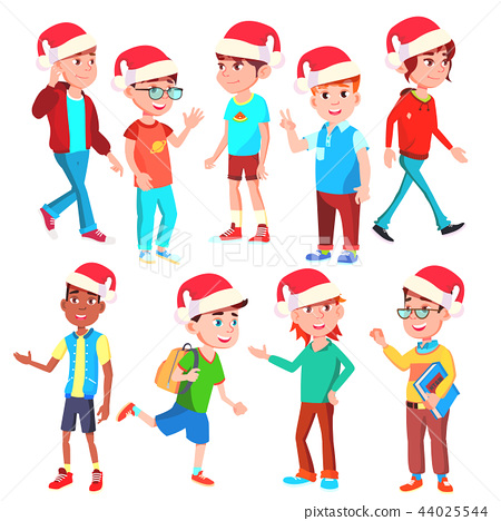 Christmas Children Set Vector. Santa Hat. Boys And Girls. Eve. Isolated Cartoon Illustration 44025544