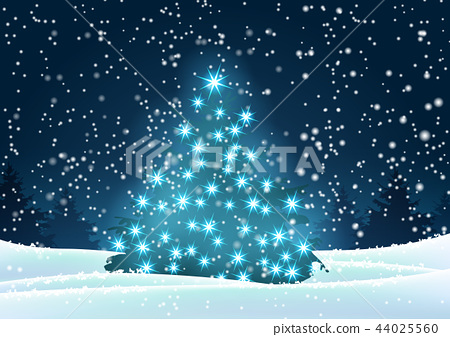Christmas tree with blue lights in dark landscape 44025560