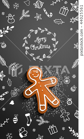 Gingerbread man with chalk doodles on black 44025561