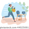 Woman holding a box with hand offering a new job. 44025691