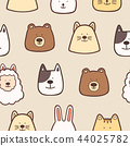 Cute animals seamless pattern background 44025782