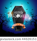 Happy Halloween banner illustration with flying bats and coffin on blue night sky background. Vector 44026151