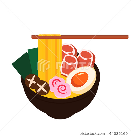 Asia noodle bowl food vector 44026169