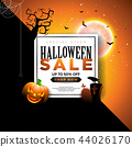 Halloween Sale banner illustration with pumpkin, moon, cemetery and flying bats on abstract colorful 44026170