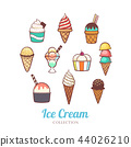 Cute hand drawn different of ice cream set  44026210