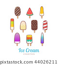 Cute hand drawn different of ice cream set  44026211