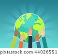 Group of businessman save the earth concept vector 44026551