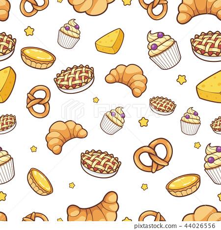 bakery hand drawn seamless pattern background 44026556