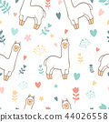Cute llama alpaca seamless pattern background 44026558