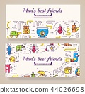 Animal vector brochure cards thin line set. Cute home pets template of flyear, posters, book cover 44026698