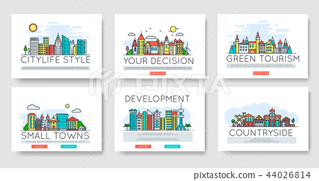 Set of city skylines and suburban different buildings in skyline. Thin line vector illustration 44026814
