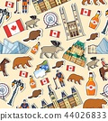 Country Canada travel vacation places and features. Set of architecture, fashion, people, items 44026833
