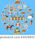 Country Canada travel vacation places and features circle. Set of architecture, fashion, people 44026842