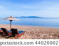 Vacation beach beds under umbrella, Samui island 44026902