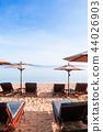 Vacation beach beds under umbrella, Samui island 44026903