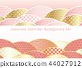 Seamless Japanese Pattern Background 2 Pieces Set 44027912