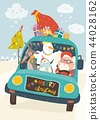 Santa Claus with reindeer, snowman and penguin in yellow car 44028162