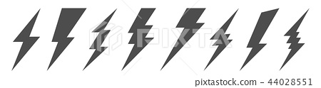 Creative vector illustration of thunder and bolt lighting flash icon set isolated on transparent 44028551