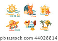 Flat vector set of colorful summer labels. Beach vacation theme. Elements for promo pasty flyer or 44028814