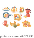 Classic breakfast dishes set, brunch or breakfast time vector Illustrations on a white background 44028991