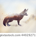 Double exposure of a Fennec Fox and autumn trees 44029271
