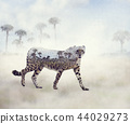 Double exposure of walking cheetah and trees 44029273