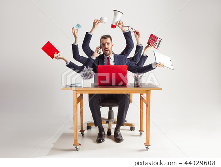 businessman with many hands in elegant suit working with paper, document, contract, folder, business 44029608