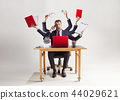 businessman with many hands in elegant suit working with paper, document, contract, folder, business 44029621