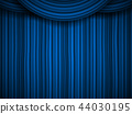 Creative vector illustration of stage with luxury scarlet red silk velvet drapes and fabric curtains 44030195