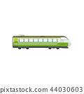 Green modern passenger train locomotive, subway transport vector Illustration on a white background 44030603