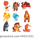 Animals playing musical instruments set, lion, cow, sheep, jellyfish, cat, mole, horse, earthworm 44031501